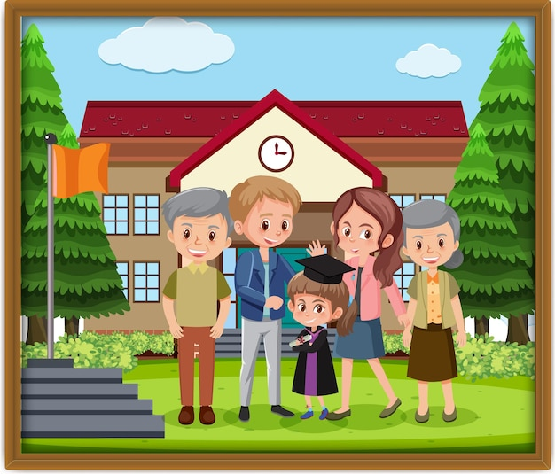 フレーム内の幸せな家族の写真