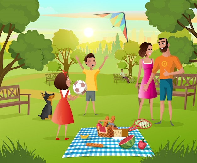 Happy family picnic in city park cartoon vector