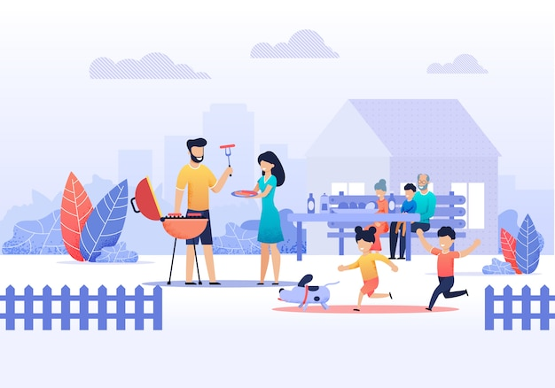 Happy family on picnic at home vector illustration