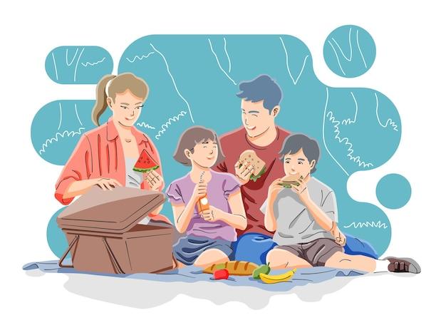 공원에서 행복 한 가족 피크닉