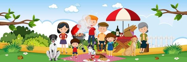 Счастливый семейный пикник в саду горизонтальной пейзажной сцены в дневное время