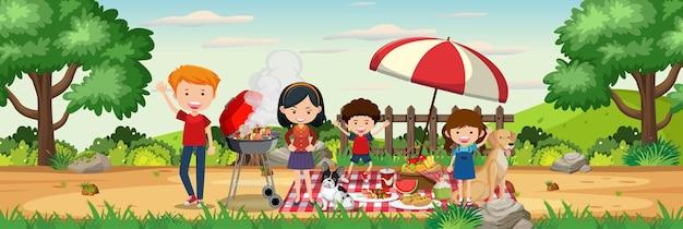 낮 시간에 정원 가로 풍경 장면에서 행복한 가족 피크닉