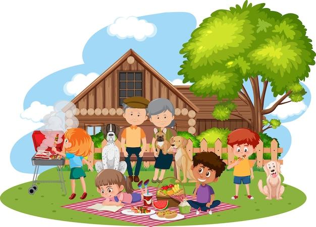 庭で幸せな家族のピクニック