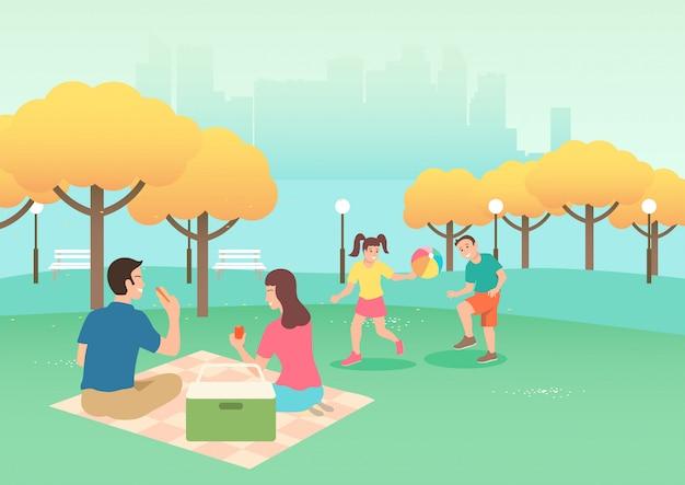 Happy family on picnic