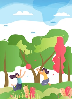 Happy family play ball in forest illustration