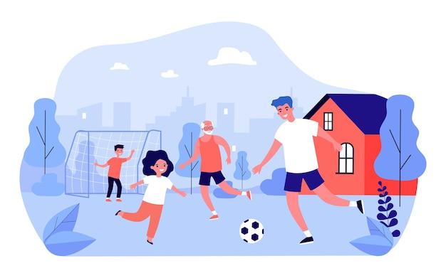 뒤뜰에서 축구를 하는 행복한 가족. 아빠, 어린이, 할아버지는 평평한 벡터 삽화 밖에서 축구를 하고 있습니다. 가족, 야외 활동, 배너 또는 웹 사이트 디자인을 위한 스포츠 개념