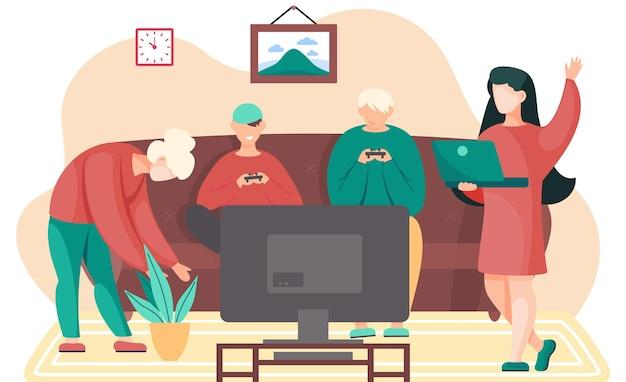 自宅のコンソールでビデオゲームをしている幸せな家族