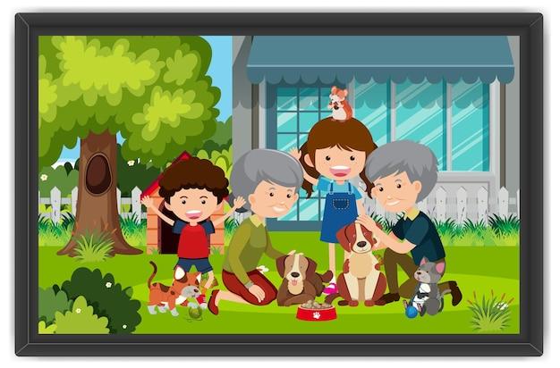 フォトフレームで犬の屋外シーンで遊ぶ幸せな家族
