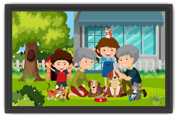 Happy family playing with their dogs outdoor scene in a photo frame