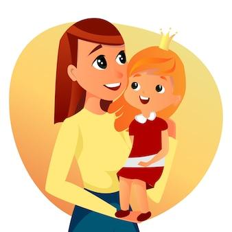 Happy family portrait cartoon woman hold girl