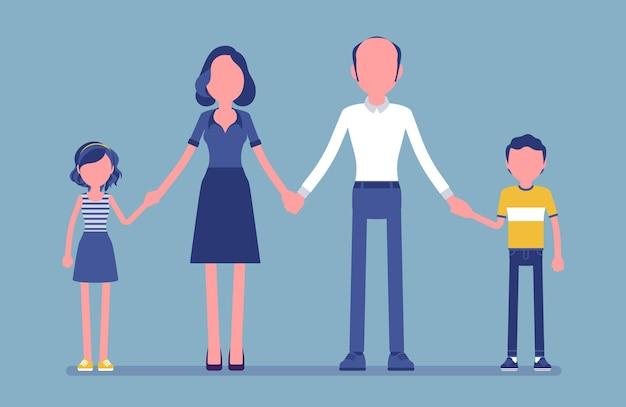 幸せな家族の肖像画。 2人の既婚者、両親、一緒に暮らす子供たち、母、父、息子、手をつないでいる娘のグループは、良い関係を楽しんでいます。ベクトルイラスト、顔のない文字