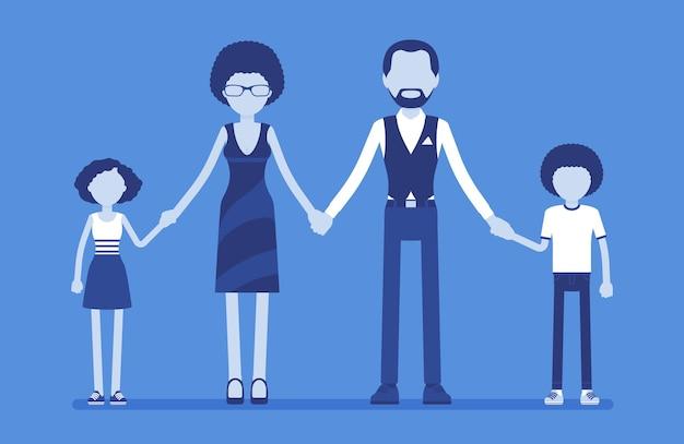 幸せな家族の肖像画。ユニットで一緒に暮らす2人の結婚した親と子のグループ、母、父、息子、手をつないでいる娘は、良い関係を楽しんでいます。ベクトルイラスト、顔のない文字