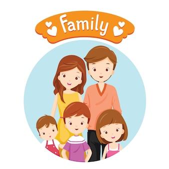 サークルフレームで幸せな家族の肖像画