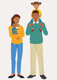 두 아이와 함께 행복 한 가족 포즈