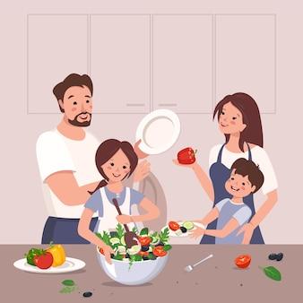 Счастливая семья готовит еду, дети помогают родителям девочка готовит овощной салат