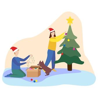 Счастливая семья готовится встретить новый год. пара наряжает елку. плоские векторные иллюстрации