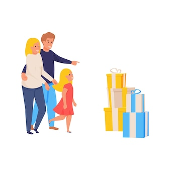 Happy family and present boxes flat isolated illustration