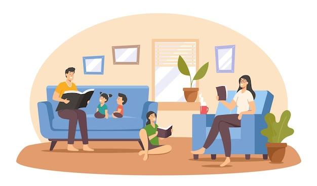 家で幸せな家族の読書。面白い本と一緒にソファに座っている父、母、子供たちのキャラクター。お父さんは子供たちへのおとぎ話、世代の絆を読んだ。漫画の人々のベクトル図