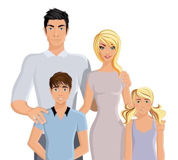 現実的な幸せな家族