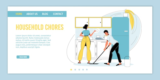 Happy family regular household chore. man woman married couple washing dishware, mopping floor. daily housekeeping routine, everyday kitchen duty. domestic work, hygiene. landing page .
