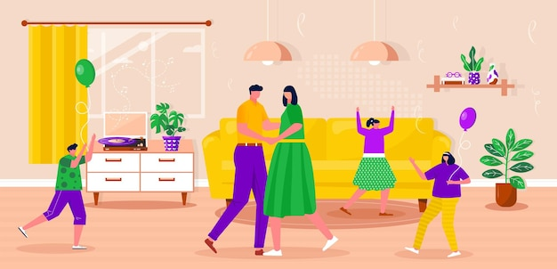Happy family relaxing, dancing, listen to music with vinyl record. parents with children spending time together. husband and wife enjoying home entertainment. vector flat interior illustration