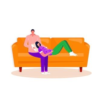 소파에서 휴식을 취하는 행복한 가족. 남자와 여자는 함께 시간을 보내고 있습니다. 남편과 아내가 편안한 소파에서 홈 엔터테인먼트를 즐기고 있습니다. 벡터 평면 인테리어 그림