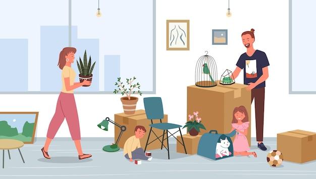 행복한 가족은 새 집이나 집 아파트로 이사하기 위해 이사할 물건을 풀거나 포장합니다.