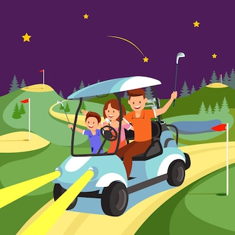 Happy family ride by cart on golf course at night.