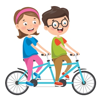 Happy family riding bicycle together Premium Vector