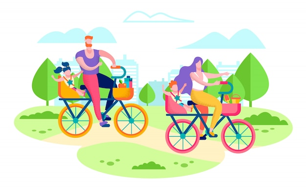 Happy family riding bicycles flat vector concept