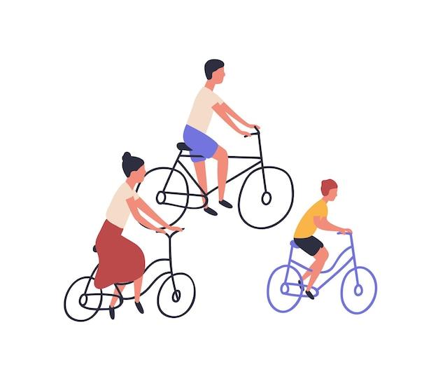自転車に乗って幸せな家族。白い背景で隔離のバイクのママ、パパと子。親と息子が一緒にサイクリング。スポーツやレジャーのアウトドアアクティビティ。フラット漫画ベクトルイラスト。