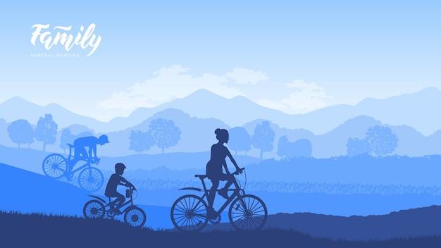 이른 아침에 행복한 가족 승마 자전거