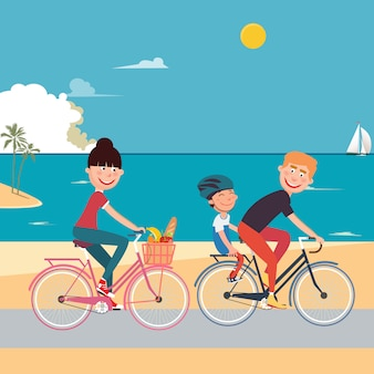 Happy family riding bikes on the beach. woman on bicycle. father and son.