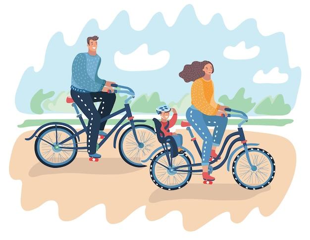 Счастливая семья, катающаяся на велосипедах в парке