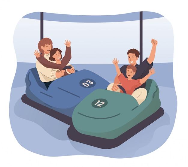 Happy family riding bumper car at amusement park