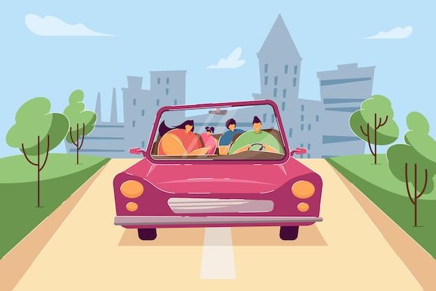 분홍색 차를 타고 행복한 가족입니다. 평면 벡터 일러스트 레이 션. 아버지, 어머니, 아들과 딸이 함께 카브리올레를 타고 여행합니다. 여행, 가족, 휴가, 배너 디자인을 위한 휴가 개념, 방문 페이지
