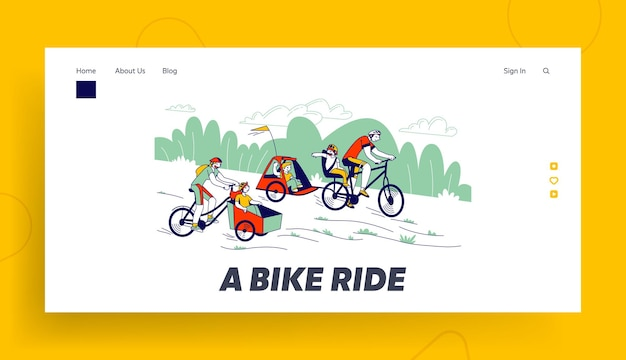 Happy family riding in park landing page template.