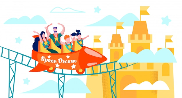 Happy family riding on roller coaster flat vector