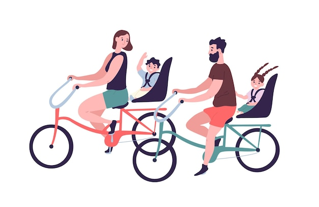 Happy family riding tandem bicycles or bicycling. cute smiling mother, father and children on bikes