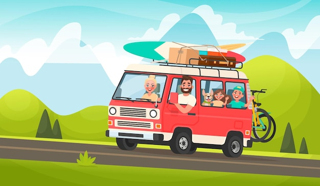 Happy family road trip. mom, dad, children and a dog traveling on a tourist minivan on the of a mountain landscape. in cartoon style Premium Vector