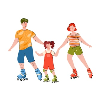 Happy family rollerskating together illustration