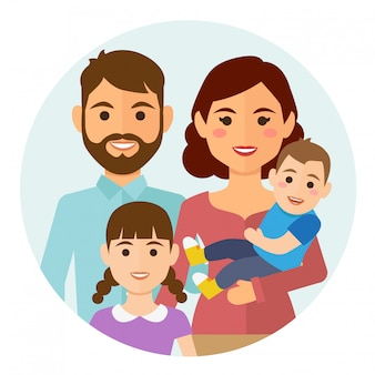 Happy family round icon