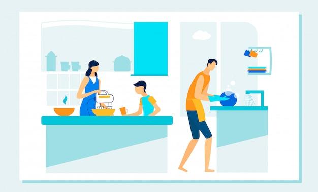 Happy family routine on kitchen. leisure, duties.