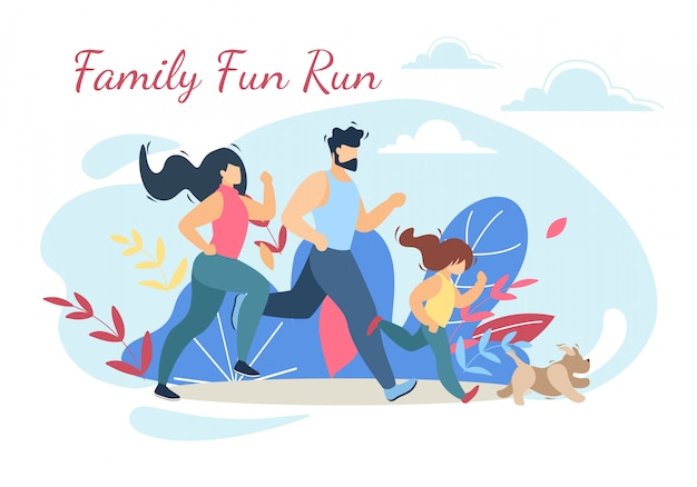 Happy family run fun спорт активный образ жизни