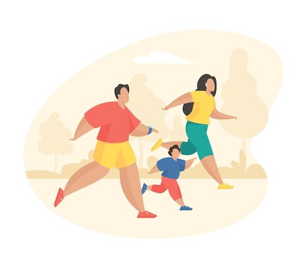 함께 달리는 행복한 가족. 만화 캐릭터 아버지 어머니와 아들 야외 스포츠 조깅. 기본적인 활동적인 건강한 스포츠 라이프 스타일. 평면 벡터 일러스트 레이 션