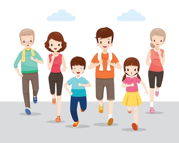 Счастливая семья, бегущая вместе за крепкое здоровье, семейные мероприятия