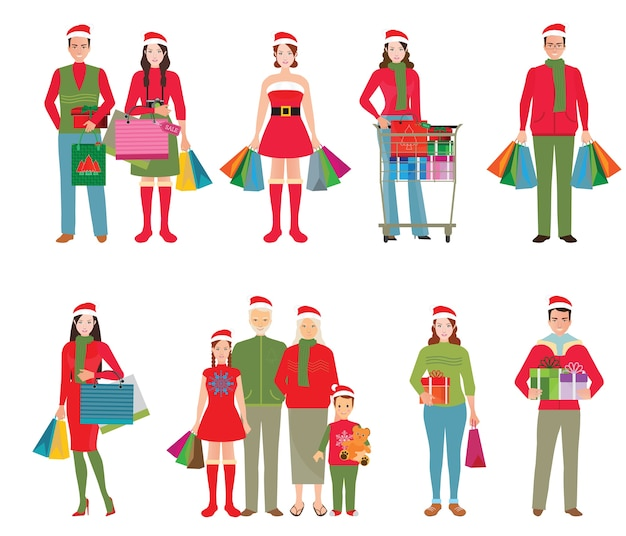 Happy family in santa hats with shopping bag and gift