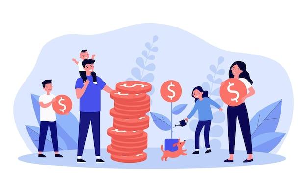 돈을 절약하는 행복 한 가족