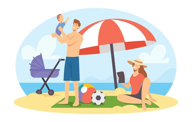 Happy family on sea beach at summer time vacation. mother, father and baby characters relaxing on seaside, sparetime