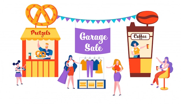 Happy family sell old things on garage sale event